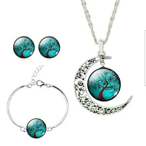 GLASS CABOCHON NECKLACE EARRINGS, AND BANGLE SET